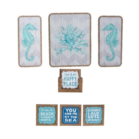 Novelty Nautical Home Decor Beachcombers Coastal Life Wooden Beach Sayings Coasters (4pc Set) and Beachcombers Coastal Life Seahorse Coral Wall Plaques (3pc Set)