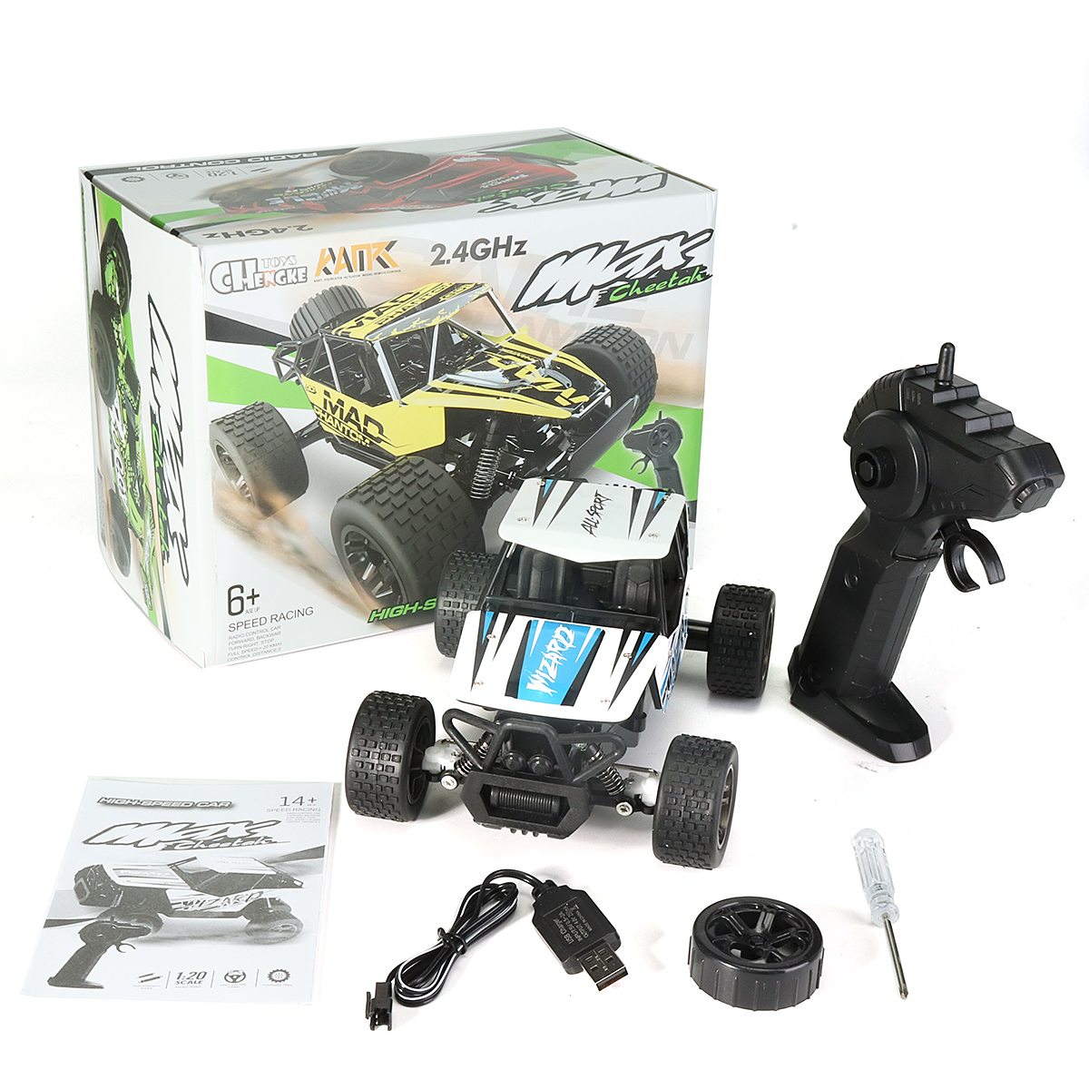 1:20 2.4GHz 4WD High Speed Radio Fast Remote Control RC Car Off-Road Truck RTR Toy For Children Gift