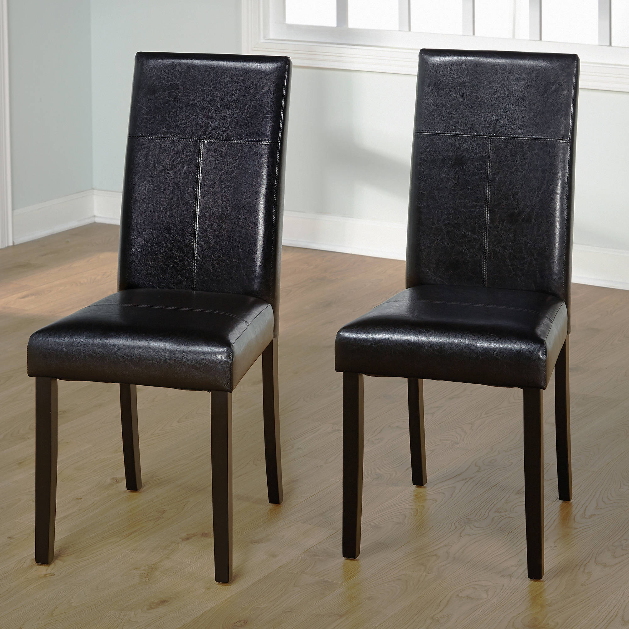 Faux Leather Parsons Dining Chair Set of 2 Gray Walmart