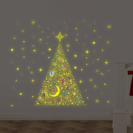 the holiday aisle learn the abc glow in dark christmas tree stars wall decal