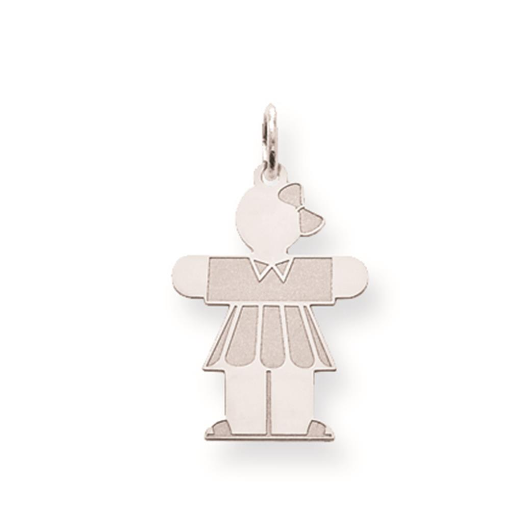 Laser-cut Polished Kid Solid Charm Pendant 23mmx14mm 925 Sterling Silver