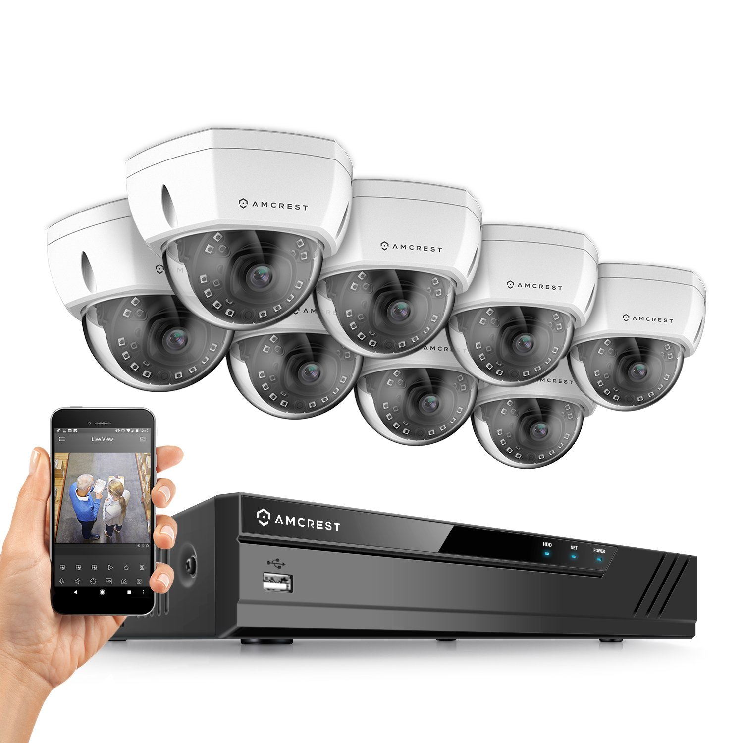 Amcrest 16CH Plug & Play H.265 4K NVR 2MP 1080P Security Camera System, (8) x 2-Megapixel 3.6mm Wide Angle Lens Weatherproof Metal Dome PoE IP Cameras, 98 Feet Night Vision (White)