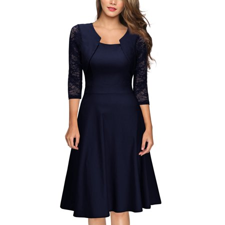 MIUSOL Women's Vintage Square Neck Floral Lace 2/3 Sleeve Cocktail Swing Dresses for Women (Navy Blue L) ()