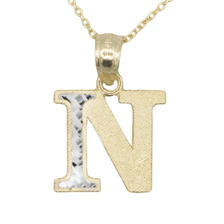 14k Yellow Gold Two Tone Letter N Initial with Diamond Cut Finish Pendant Necklace (No (14k White Gold Diamond Letter)