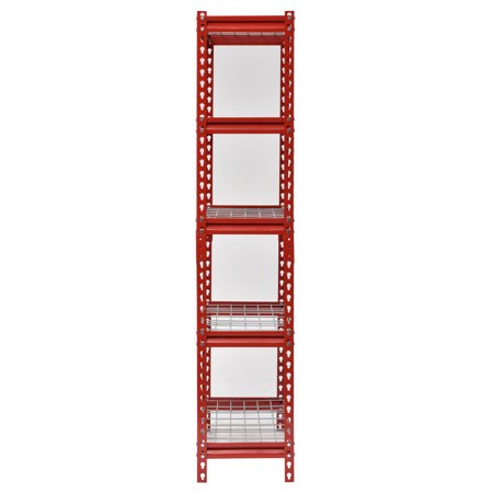 "Muscle Rack 30"" Width x 60"" Height x 12"" Length,, UR301260WD5-R 5-Shelf Steel Shelving Unit, Red"