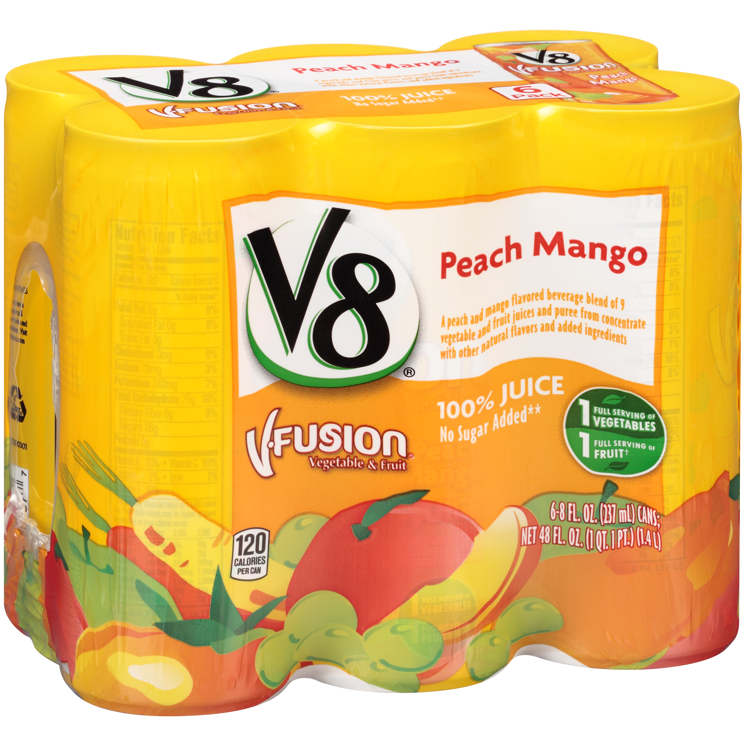 V8 V-Fusion Peach Mango Fruit & Vegetable Juice 8oz 6 pack