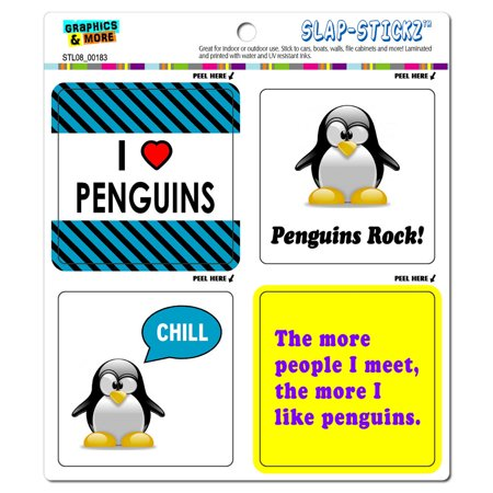 Penguins Funny Love SLAP-STICKZ(TM) Premium - Penguin Stickers