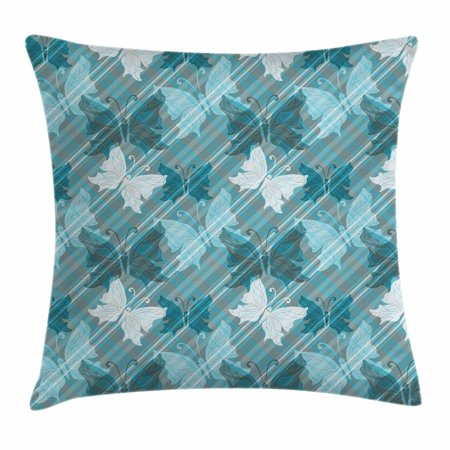 Grunge Throw Pillow Cushion Cover, Butterflies Pattern Checkered Backdrop Animal Spring Season Inspirations, Decorative Square Accent Pillow Case, 16 X 16 Inches, Pale Blue Teal Grey, by Ambesonne