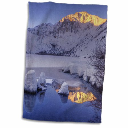 3dRose USA, California, Sierra Nevada Range. Winter sunrise at Convict Lake. - Towel, 15 by 22-inch