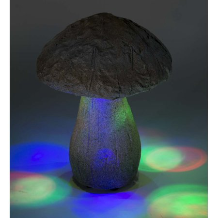 Lighted Color-Changing Mushroom Sculptures, Set of 2, Gray