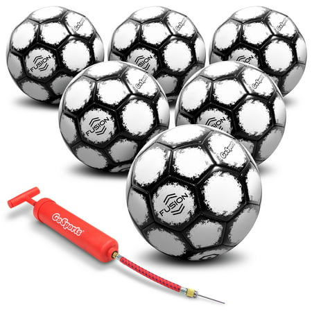 1dd032b22 GoSports 6 Pack Fusion Soccer Ball with Premium Pump, Size 3, Black -  Walmart.com