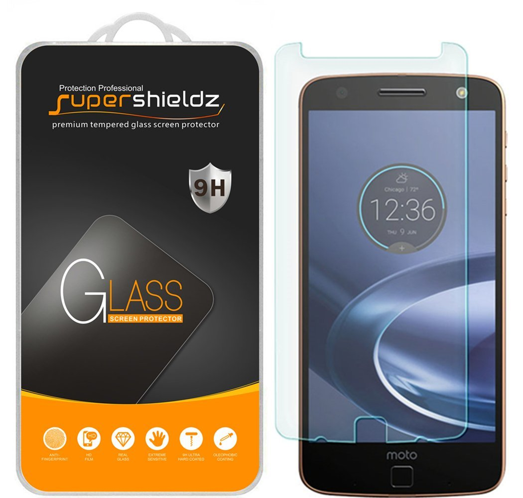 [2-Pack] Supershieldz Motorola Moto Z Force Droid Tempered Glass Screen Protector, Anti-Scratch, Anti-Fingerprint, Bubble Free
