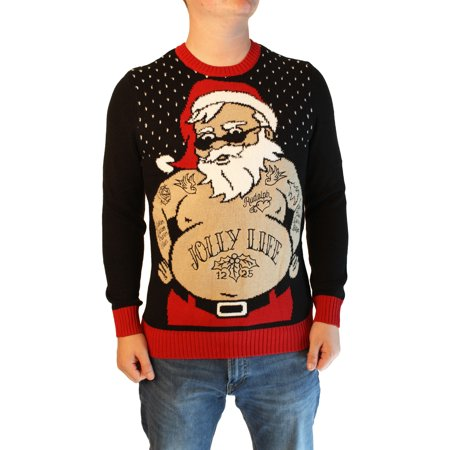 Ugly Christmas Sweater Men's Xmas Tatted Thug