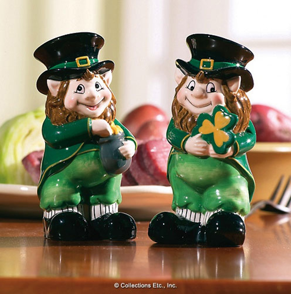 Lovable Irish Leprechaun Salt & Pepper Shaker Set by Collections Etc