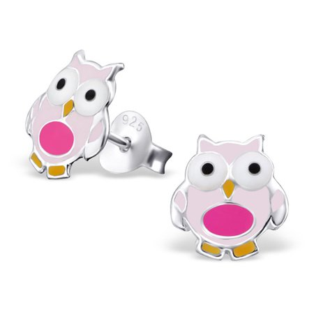 Sterling Silver Children's Adorable Pink Owl Bird Post Stud Earrings