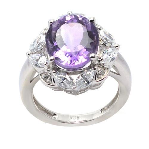 De Buman Sterling Silver Genuine Amethyst and Cubic Zirconia Ring (Size 6.75) by Overstock