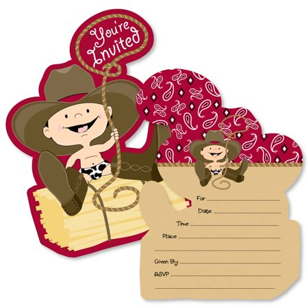 Little Cowboy - Shaped Fill-In Invitations - Western Baby Shower or Birthday Party Invitation Cards with Envelopes-12 Ct - Cowboy Invitations
