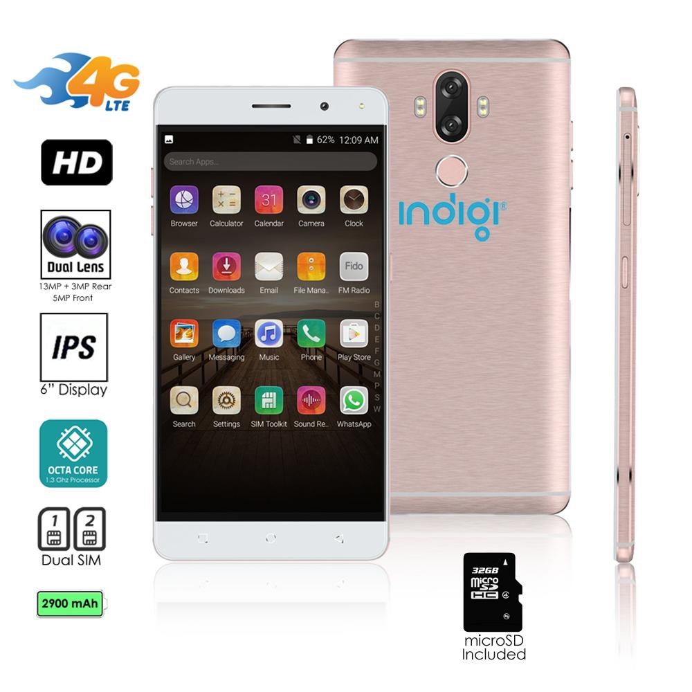 Indigi® Unlocked 4G LTE 6-inch Android 7.0 Octa-Core 1.3GHz SmartPhone (Fingerprint Scanner + 2SIM Slots) + 32gb microSD