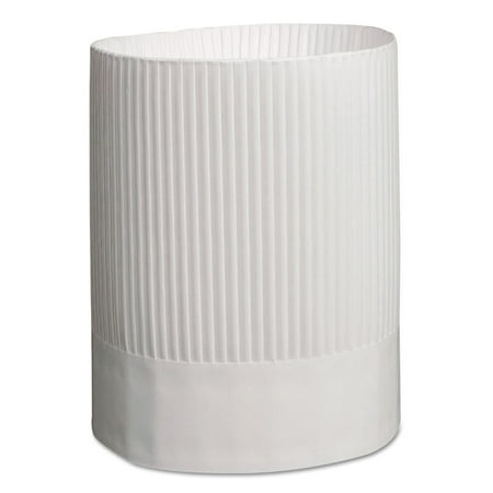 Stirling Fluted Chef's Hats, Paper, White, Adjustable, 9 in. Tall, 12/Carton](Milk Carton Hat)