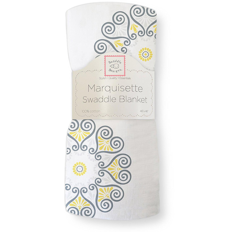 SwaddleDesigns Marquisette Swaddling Blanket, Premium Cotton Muslin, Yellow Medallions