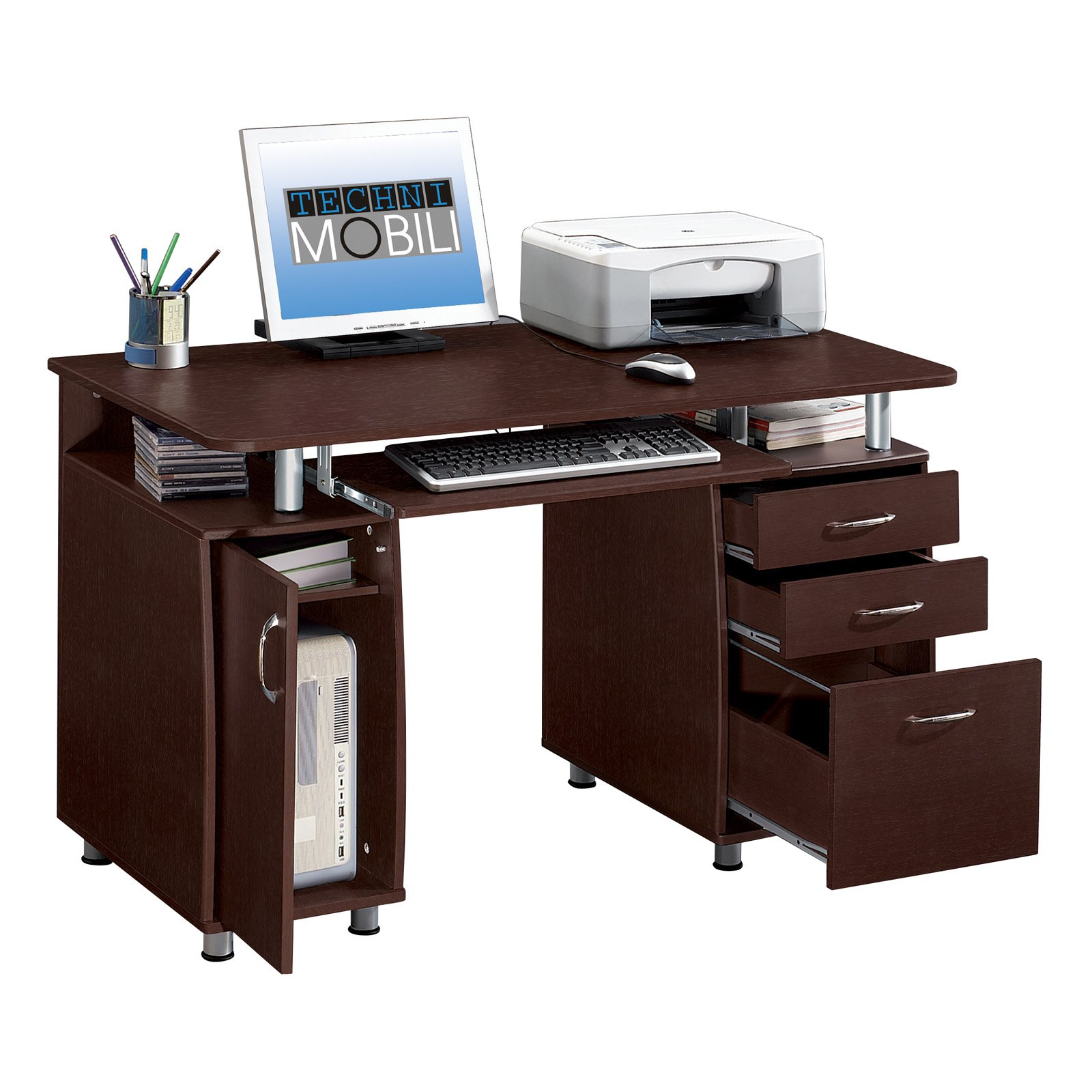 Techni Mobili Complete Computer Workstation with Cabinet and Drawers    Chocolate   Walmart com. Techni Mobili Complete Computer Workstation with Cabinet and
