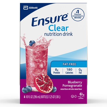Ensure Clear Nutrition Drink, 0g fat, 8g of high-quality protein, Blueberry Pomegranate, 10 fl oz, 4