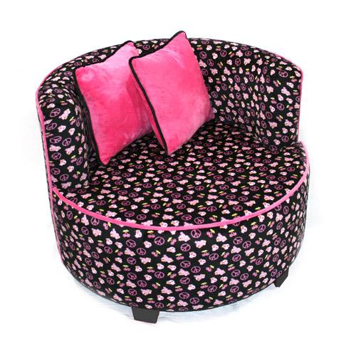 Redondo Tween Minky Chair, Black Skull