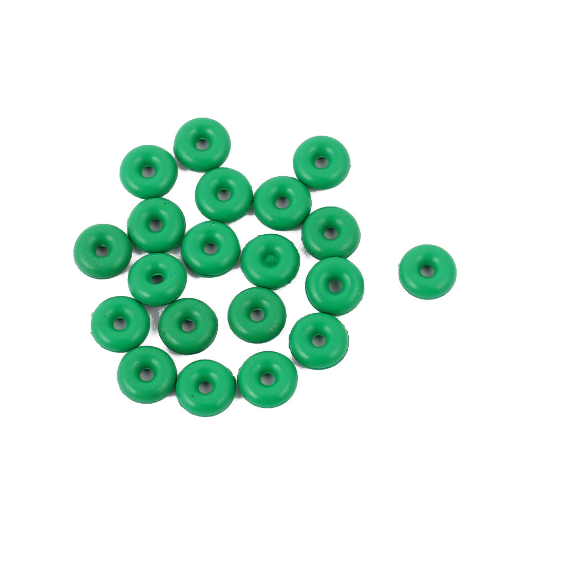 20pcs 1.9mm Thick Heat Resistant  Green O-Ring Rubber Sealing Ring 5mm OD