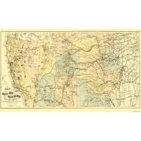 (Old Railroad Map - Union Pacific with Eastern Connections 1867 - 38 x 23)