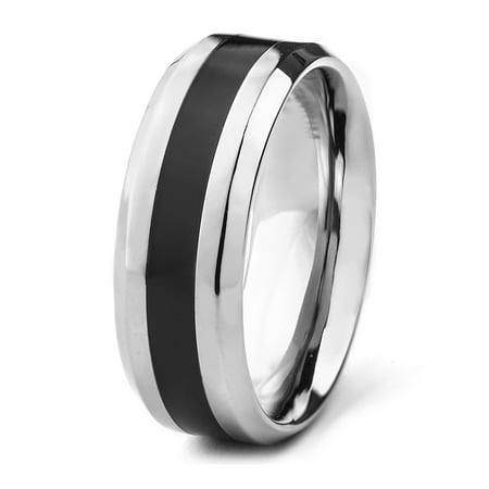 Titanium High Polished Black Resin Inlay Ring (8mm)