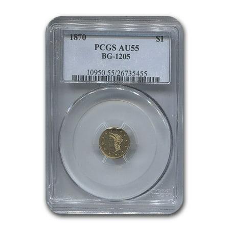 1870 Liberty Round One Dollar Gold AU-55 PCGS (Gold Liberty Dollar)