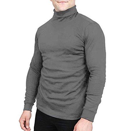 LELINTA Mens Shirts Long Sleeve Cotton Crew Neck Long-Sleeve Tshirt Big Mens Long Sleeve T-Shirt Turtleneck Workshirt Black Blue White Grey (Polo Ash Grey T-shirt)