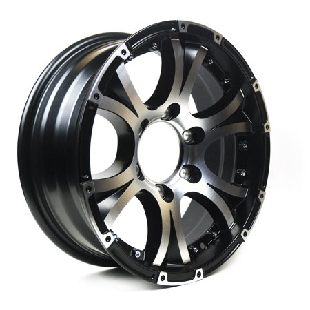 Viking Series Machined Lip and Face Gloss Black Aluminum Trailer Wheel with Black Cap - 16