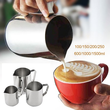 Milk Frothing Pitcher Jug for Latte Art, Stainless Steel Espresso Steaming Pitcher, Coffee Creamer Frothing (Stainless Steel Frothing Steaming Pitcher)