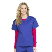 Med Couture Women's Signature V-Neck Scrub Top, Royal/Key Lime, S