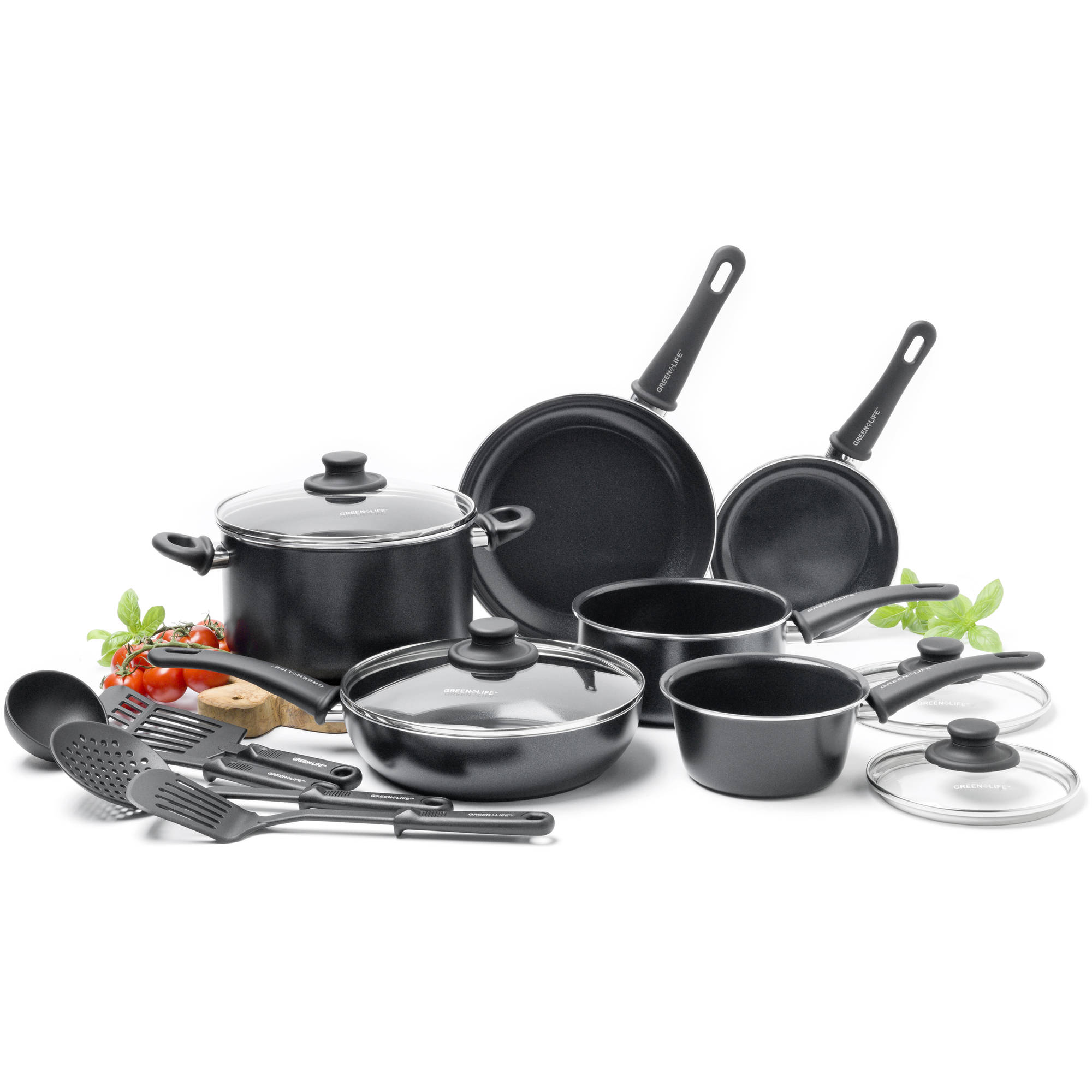 GreenLife Healthy Ceramic Diamond Reinforced Non-Stick 14-Piece Soft Grip Cookware Set
