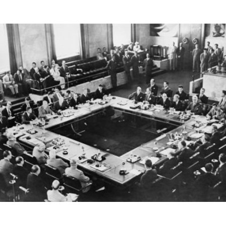 High angle view of a group of people in a conference Big Four Conference Geneva Switzerland July 1955 Poster Print - Groups Of 4 People