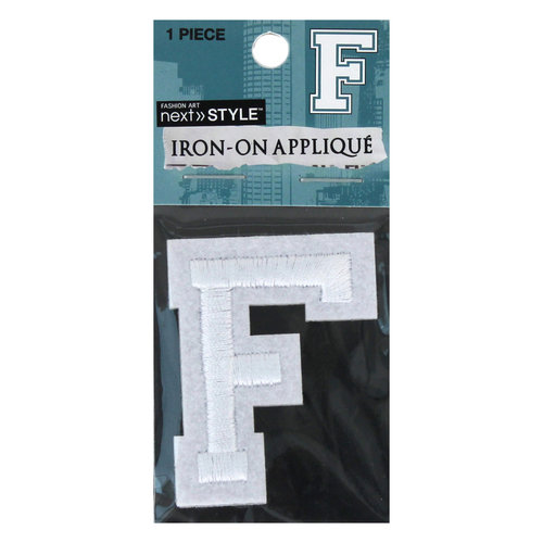 "Next Style Single Embroidery Letter, ""F"", White"
