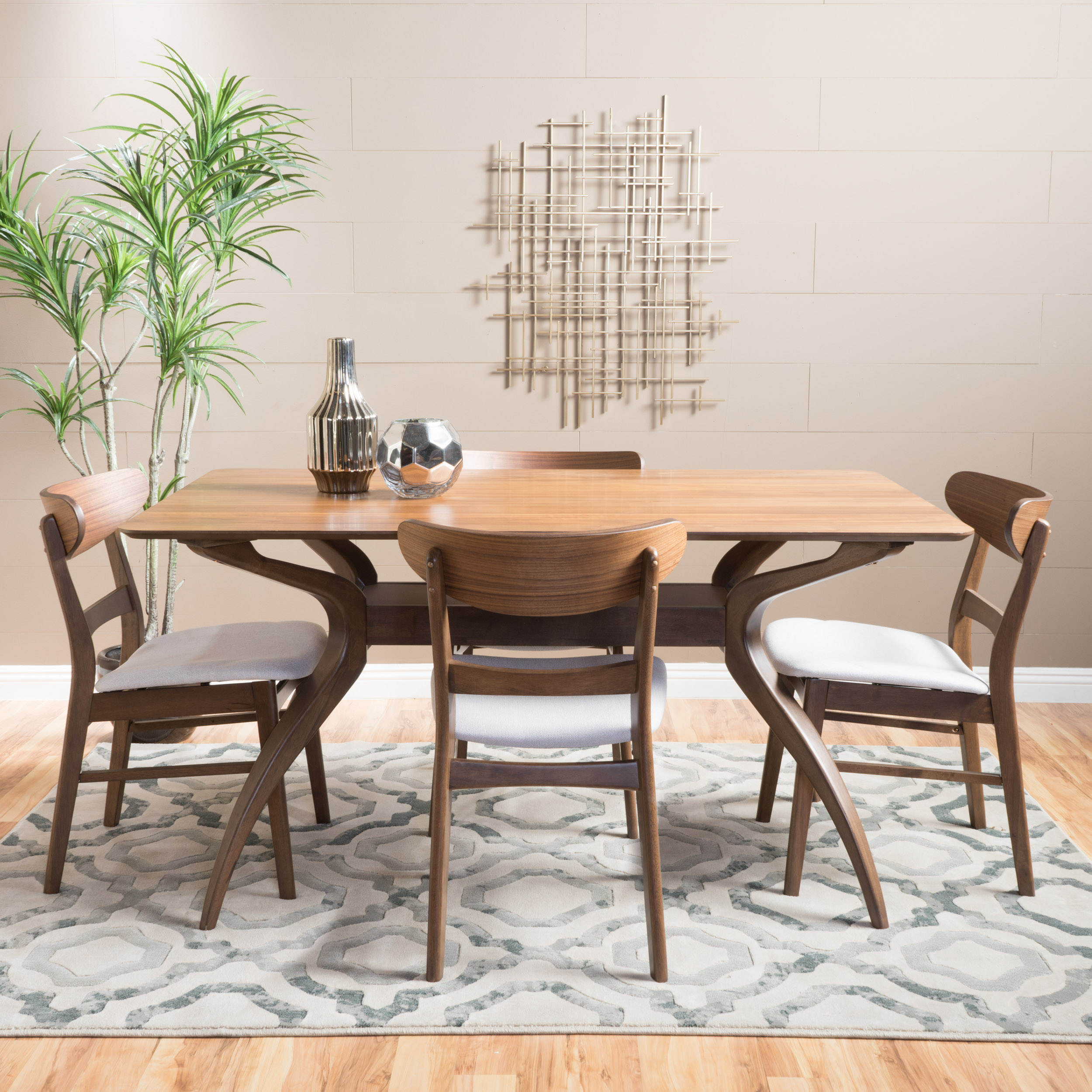 Noble House Harper Natural Walnut Wood Light Beige 5 Piece Dining Set