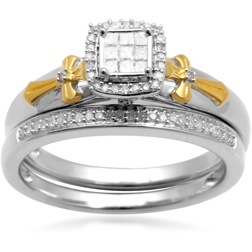 1/5 Carat T.W. Princess and Round Diamond 18kt Yellow Gold over Silver Bridal Set
