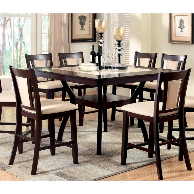 Furniture Of America Arena Dark Cherry Wood Counter Height Dining Table Walmart Com Walmart Com