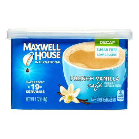 Maxwell House International Cafe Coffee Beverage Mix, Decaf & Sugar Free French Vanilla, 4 oz