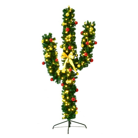 Costway 5Ft Pre-Lit Cactus Christmas Tree LED Lights Ball Ornaments ()