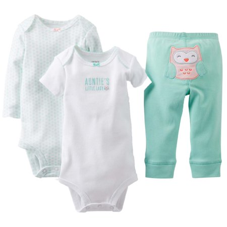 Infant Girls Owl Baby Outfit 3 Piece Aunties Little Lady Shirt Bodysuit & Pants (Baby Girl Owl)