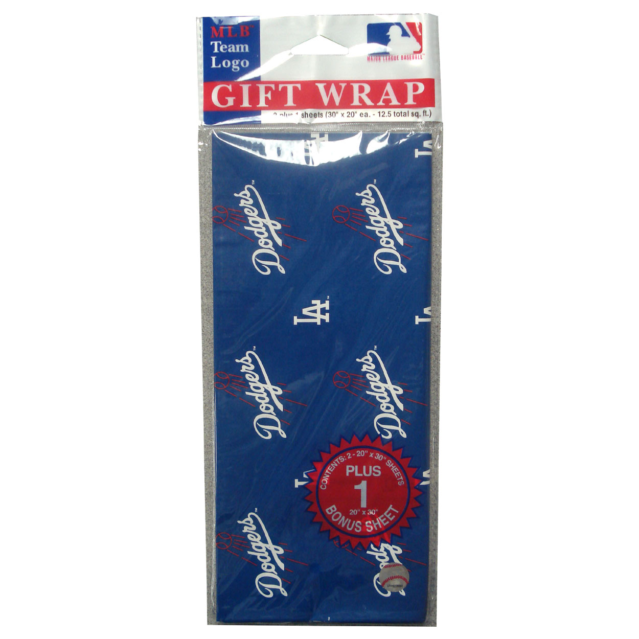 2-Packages of MLB Gift Wrap - Dodgers