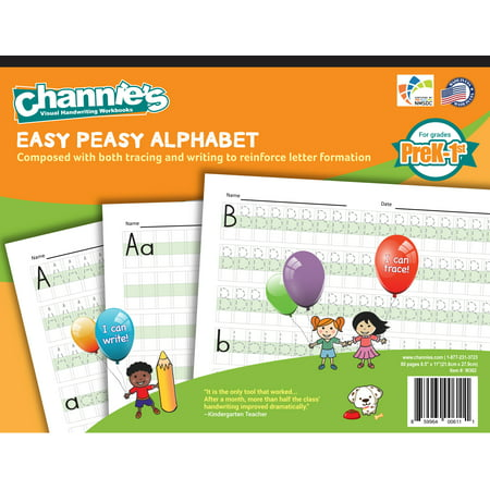 Channie's Easy Peasy Handwriting Alphabet Workbook For PreK-1st Grade handwriting workbook, worksheet improve handwriting quickly with the visual color coded format.