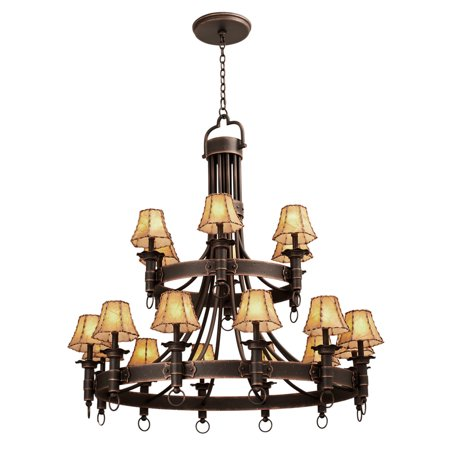 Chandeliers 18 Light With Black Finish Hand Forged Wrought Iron E12 145 inch 720 Watts