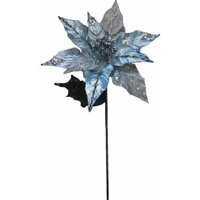 "Vickerman 32"" Glitter Velvet Sheer Poinsettia Decorative Christmas Pick"