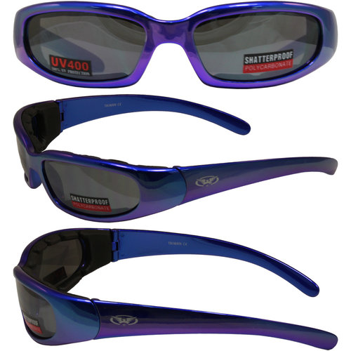 Global Vision CHICAGOSCBLFM Chicago Motorcycle Riding Glasses (Blue Frame/Flash Mirror Dark Lens)