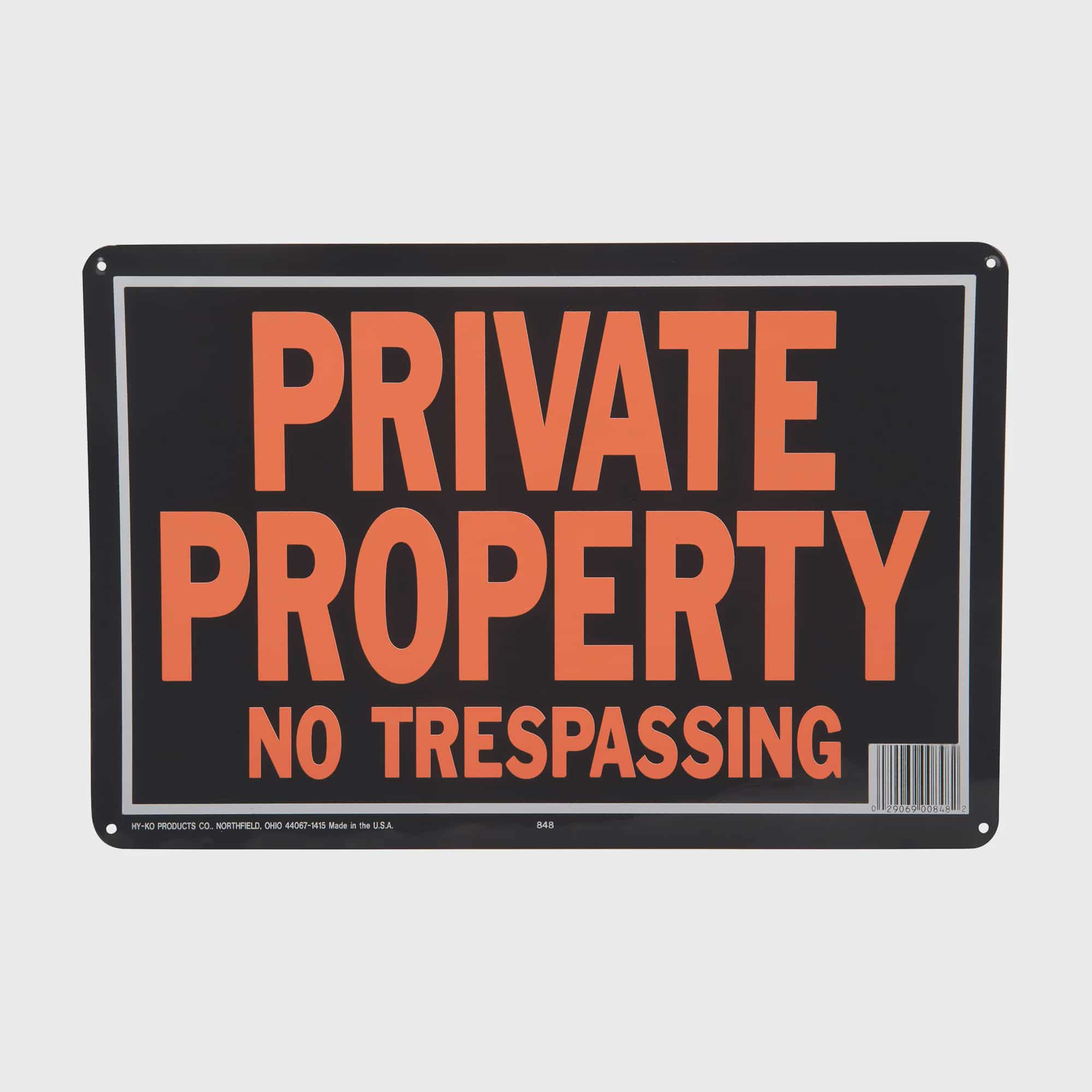 "Hy-Ko Plastic Sign Black 11/"" X 11/"" Private Property Pack of 20"